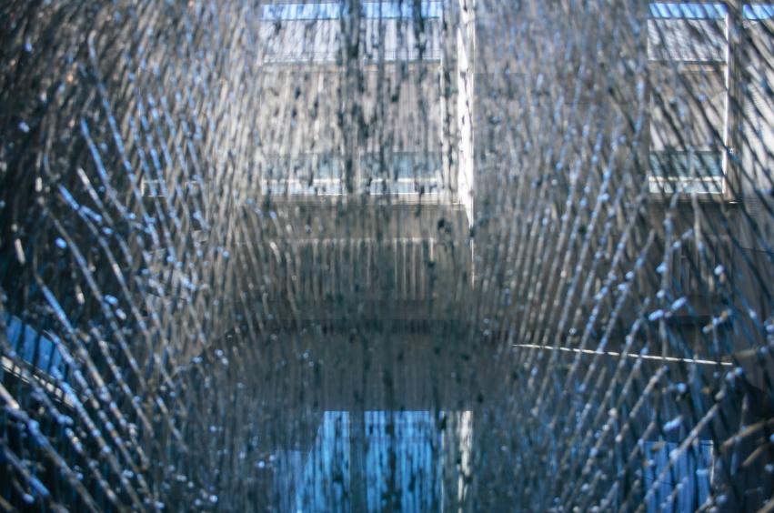 Shattered glass broken glass seen from closeup